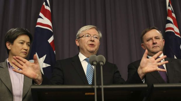 Prime Minister Kevin Rudd with Anthony Albanese and Penny Wong.