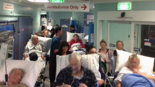 No room ... Crowded conditions at Frankston Hospital at 8.30pm on Monday.