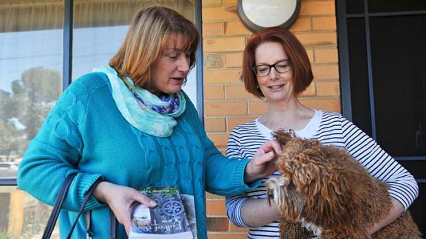 Former PM Julia Gillard with her pick for Lalor, 51-year-old primary school teacher from Werribee,  Joanne Ryan.
