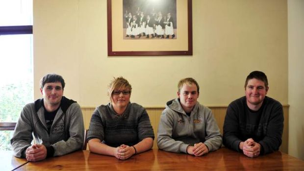From left, Max Schroedl, 23, Danielle Butler, 25, Troy Harris-McMillan, 21 and Mitchel Edwards, 21.