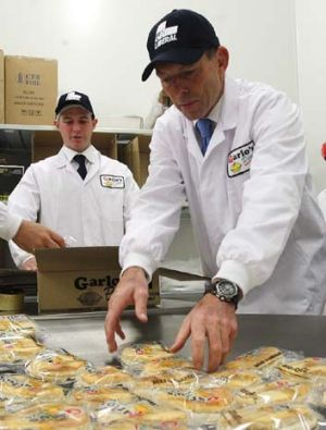 Upper crust: Tony Abbott at the Gario's Pies factory in St Peters.