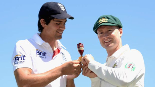 Eyes on the prize: ENgland captain Alastair Cook and Australian captain Michael Clarke.