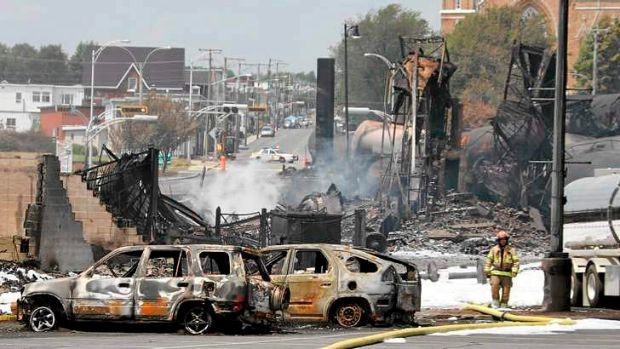 Destruction of part of the town of Lac-Megantic.