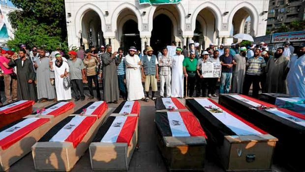 Empty coffins intended to symbolise the 51 killed earlier this week.