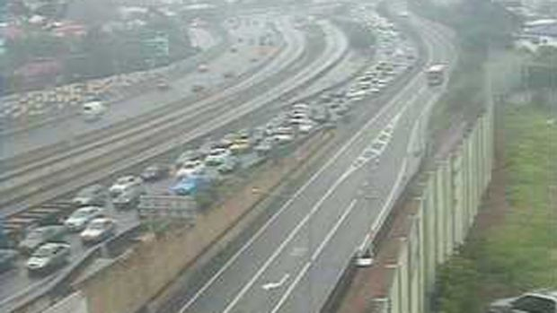 Traffic backs up on the Pacific Motorway following an accident on Wednesday morning.
