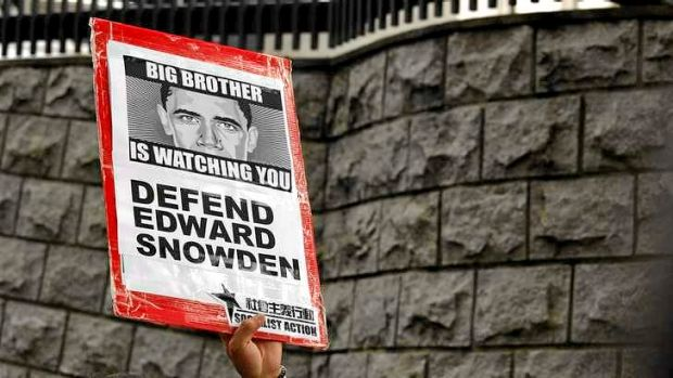 A protester supporting Edward Snowden outside the US consulate in Hong Kong.