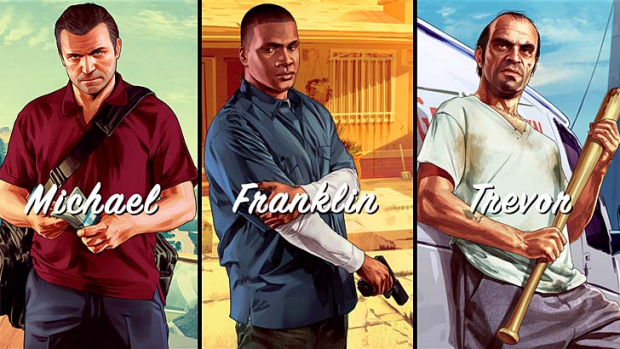 The three protagonists in Grand Theft Auto V.