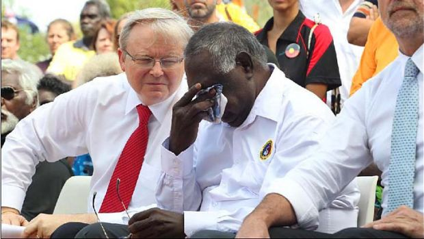 Prime Minister Kevin Rudd with Yirrkala indigenous leaders for the 50th anniversary of the Yirrkala Bark Petitions.