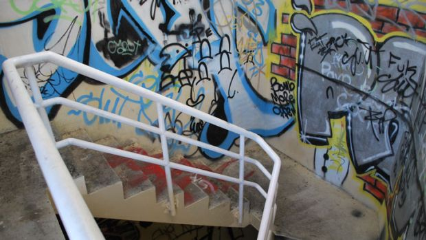 The stairwells and upper levels of the car park are covered in graffiti, which will be removed or painted over before ...