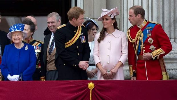 The royal family will soon expand by one: (From left) Queen Elizabeth with Princess Anne, Prince Andrew, Prince Harry, ...