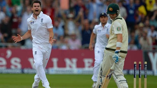 Skittled: James Anderson celebrates after bowling  Michael Clarke.