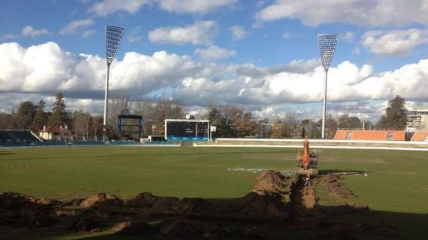 Out with the old... Manuka Oval gets a turf change. (Twitter)
