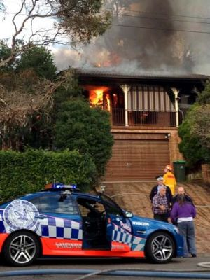 Police believe fire was an accident: The Mount Colah home burns.