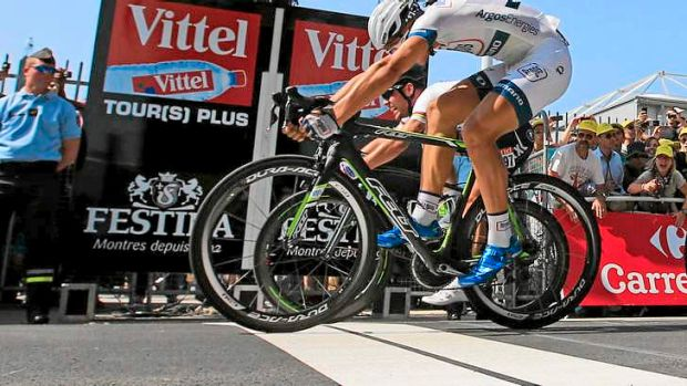 Photo finish: Marcel Kittel of Germany just pips British sprint star Mark Cavendish to win stage 12.