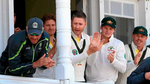 Channelling Bradman: Australia's captain Michael Clarke  stands in the Trent Bridge pavilion with Steven Smith and David ...