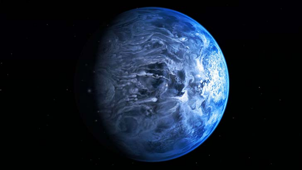 Blue planet: An artist's impression of HD 189733b, a huge gas giant that orbits very close to its host star HD 189733.