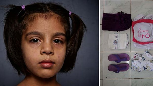 Asylum seeker Muskan Amini, 7, from Afghanistan, who is living in the Indonesian town of Cisarua.