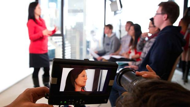 Newest study tool: Students attend an hscLIVE seminar that is streamed live to as many as 1000 other students from as ...