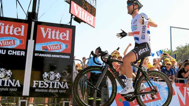 Last sprinter standing: Mark Cavendish of Great Britain claims the stage victory.