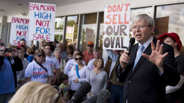 Kevin Rudd holds a rally outside his Morningside office in Brisbane about a local oval being sold off by the LNP State ...