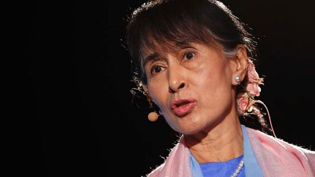 """""""I am looking forward to coming to Australia"""": Myanmar opposition leader Aung San Suu Kyi."""