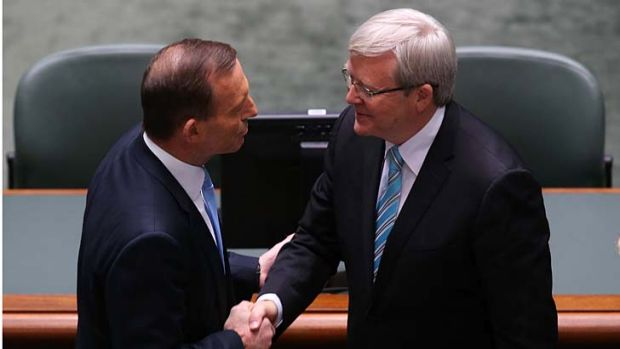 Shaking it up: Tony Abbott and Kevin Rudd.