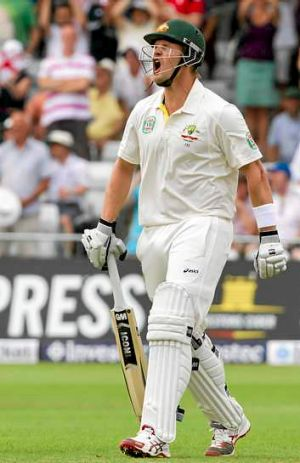 Shane Watson angrily reacts after losing his wicket.