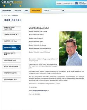 A screen shot of the Canberra Lberals' website for Zed Seselja. The page has since been updated.