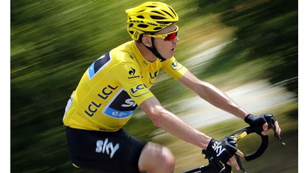 Chris Froome negotiates the the 242.5-km 15th stage of the Tour de France between Givors and Mont Ventoux.