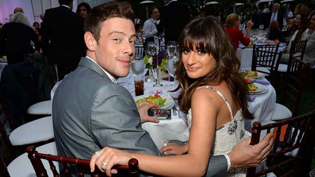 Glee co-stars: Cory Monteith and his on-screen love interest, and real-life fiancee, Lea Michele.