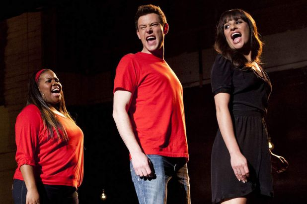 Monteith performing in Glee.