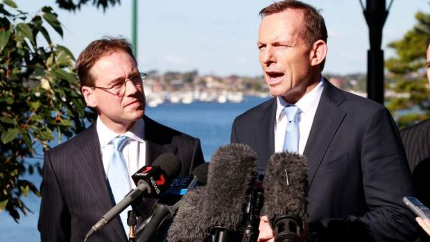 Opposition leader Tony Abbott in Sydney earlier this month with Coalition environment spokesman Greg Hunt. The Coalition ...