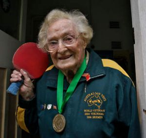Batting on ... Dorothy De Low, 102, plays table tennis 3 times a week.