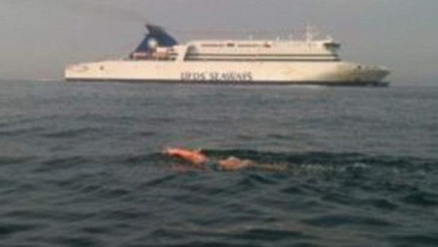 Susan Taylor's support team posted this picture during her attempt to swim the English Channel.