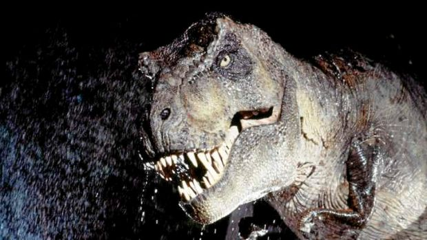 A raging Tyrannosaurus rex, as depicted in the 1993 movie <em>Jurassic Park</em>.