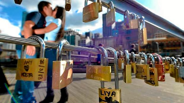 "The tradition of ""love locks"" has made it from Europe to the Yarra Footbridge at Southgate."