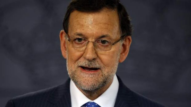 Spain's Prime Minister Mariano Rajoy speaks during a news conference.