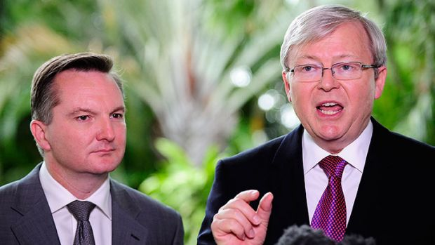Prime Minister Kevin Rudd and Treasurer Chris Bowen speak at a media conference that outlines federal budget cuts on ...