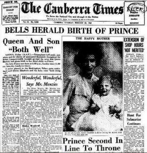 The front page of the Canberra Times, February 20 1960.