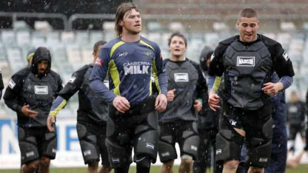 A scene like this is unlikely... on August 17 last year, It actually snowed at Canberra Stadium during Raiders training.
