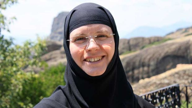 Former Perth woman 'Anita Phillips', now Sister Silouani, at her home at St Stephen's in Meteora. Her story of how she ...
