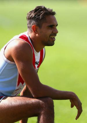 """""""We still have to be conservative with him"""": Swans coach John Longmire on Lewis Jetta."""