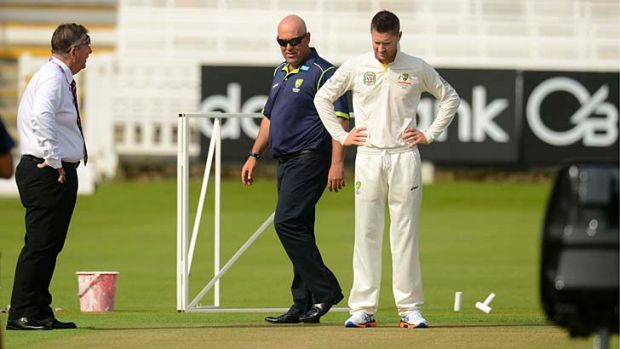 Michael Clarke and Darren Lehmann inspect the pitch at Lord's along with selector Rodney Marsh on Tuesday.