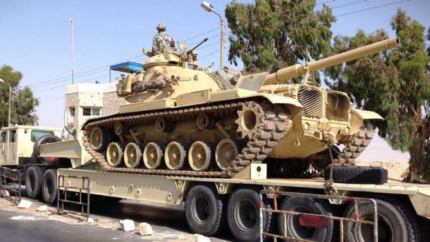 An Egyptian military tank is deployed in the northern Sinai. With an insurgency threatening its sensitive border with ...