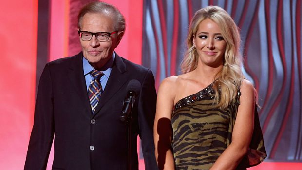 TV veteran Larry King with comedian Jenna Marbles at the 3rd Annual Streamy Awards in California.
