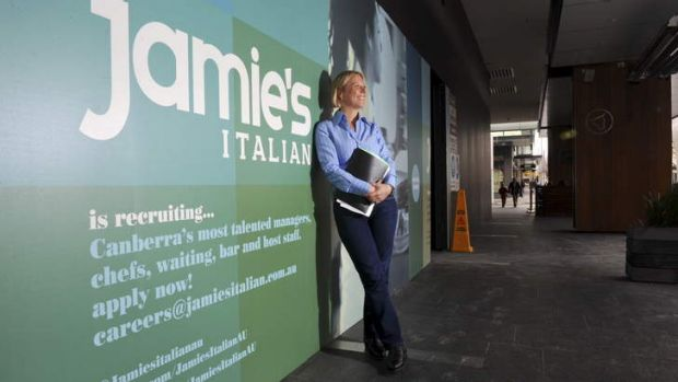 General manager of Jamie's Italian, Karen Westfield, out the front of the premises in Bunda Street, Canberra City, which ...