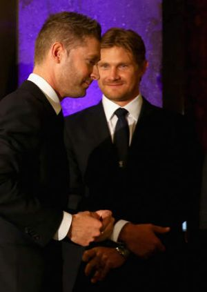 Diplomatic mission: Michael Clarke and Shane Watson at the Australian High Commision in London.