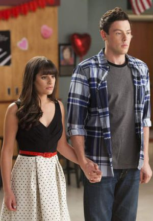 Lea Michele, left, and Cory Monteith in a scene from <i>Glee.</i>