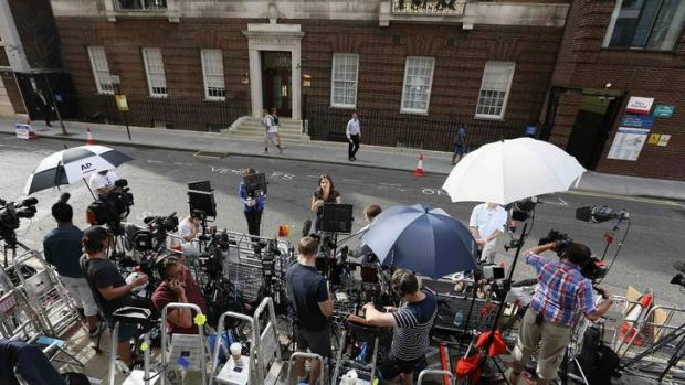 Paranoid: the press pen opposite the Lindo Wing of St Mary's Hospital.