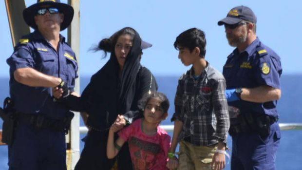 Refugees arriving at Christmas Island. Indonesia has removed the automatic visa rights for Iranians.